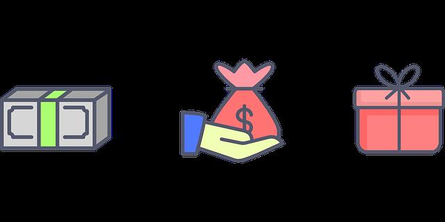 peníze, ruka, dárek