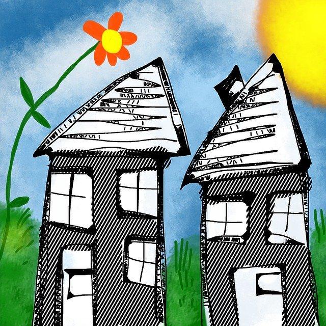kytka, kreslené domy
