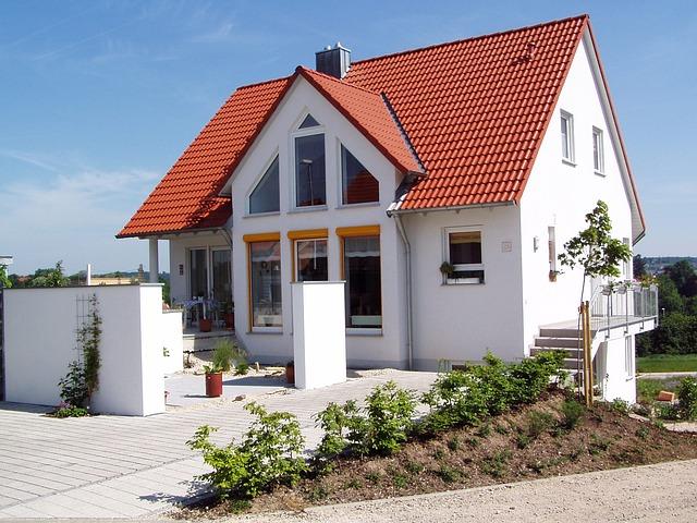 novostavba, červená střecha