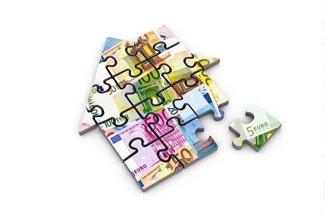 puzzle, domek, peníze
